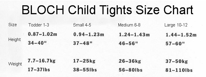 Bloch Child Tights Sizing Chart