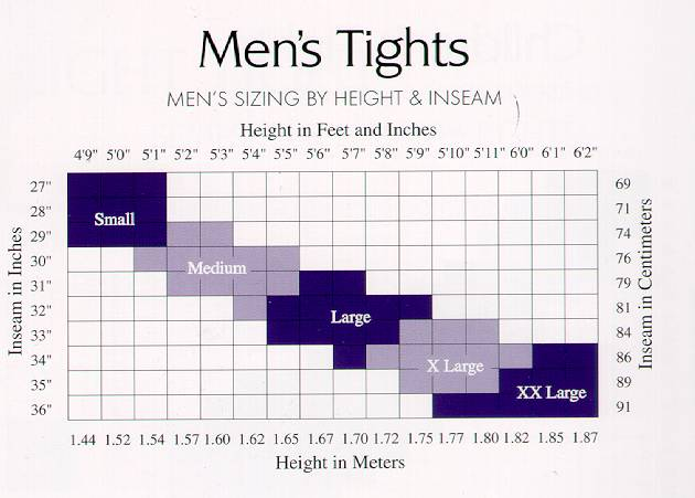 Capezio Men's Tights Sizing Chart